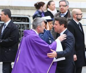 Christian Estrosi à l'enterrement de la nageuse olympique Camille Muffat, le 25 mars 2015 à Nice