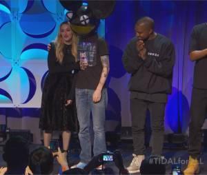 Madonna, Deadmau5 et Kanye West lors de la conférence de presse TIDAL organisée par Jay Z, le 30 mars 2015