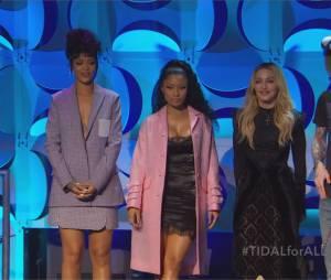 Rihanna, Nicki Minaj et Madonna lors de la conférence de presse TIDAL organisée par Jay Z, le 30 mars 2015