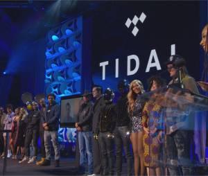 De nombreux artistes réunis lors de la conférence de presse TIDAL organisée par Jay Z, le 30 mars 2015
