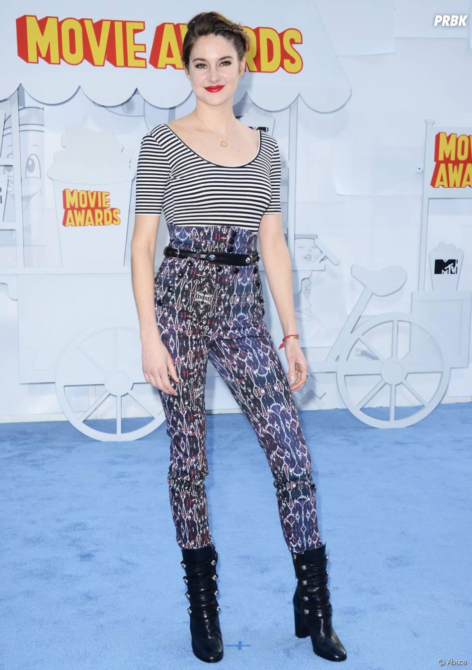 Shailene Woodley sur le tapis rouge des MTV Movie Awards 2015 à Los Angeles, le 12 avril 2015