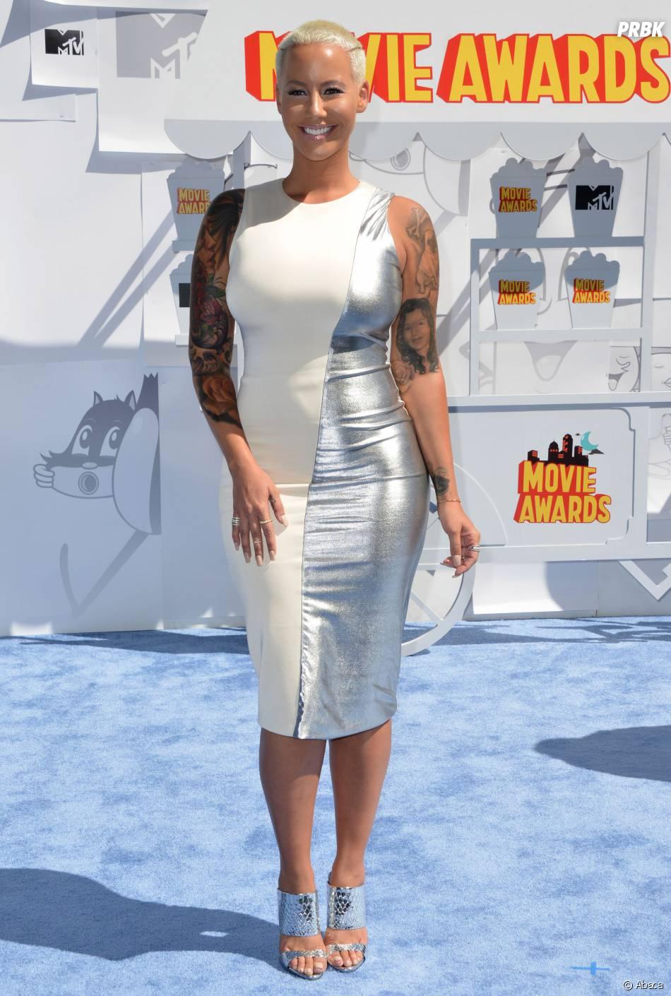 Amber Rose sur le tapis rouge des MTV Movie Awards 2015 à Los Angeles, le 12 avril 2015
