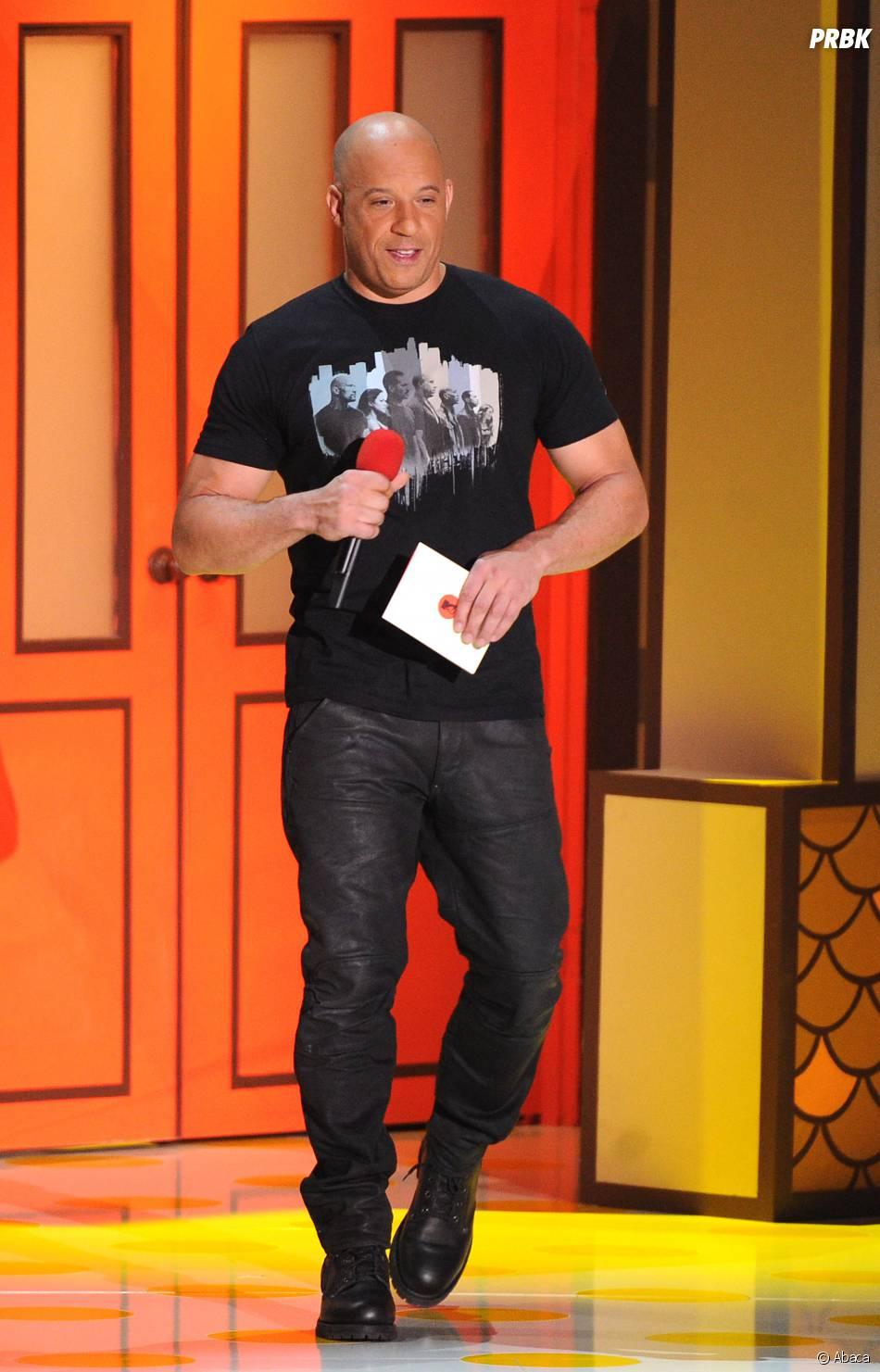 Vin Diesel sur la scène des MTV Movie Awards 2015 à Los Angeles, le 12 avril 2015