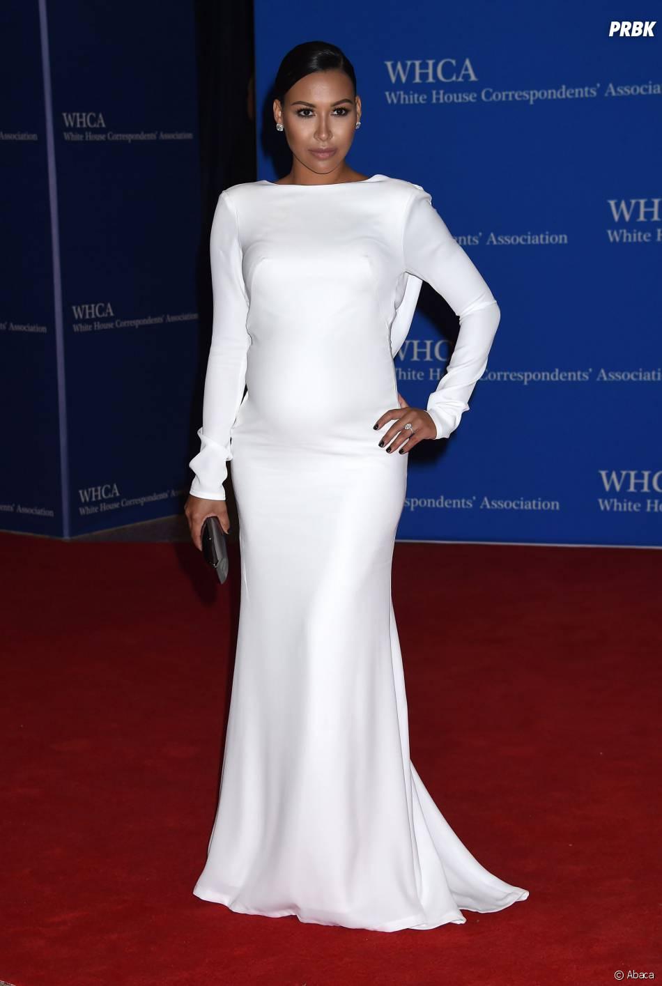 Naya Rivera enceinte et glamour au Dîner des correspondants de la Maison Blanche, le 25 avril 2015 à Washington