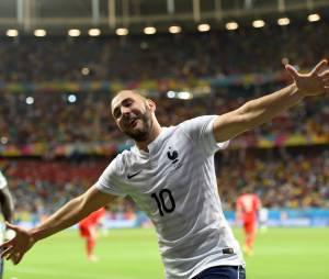 Karim Benzema pendant France VS Suisse dans le cadre du Mondial 2014