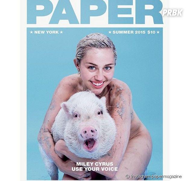 Miley Cyrus nue et avec son cochon pour le magazine Paper