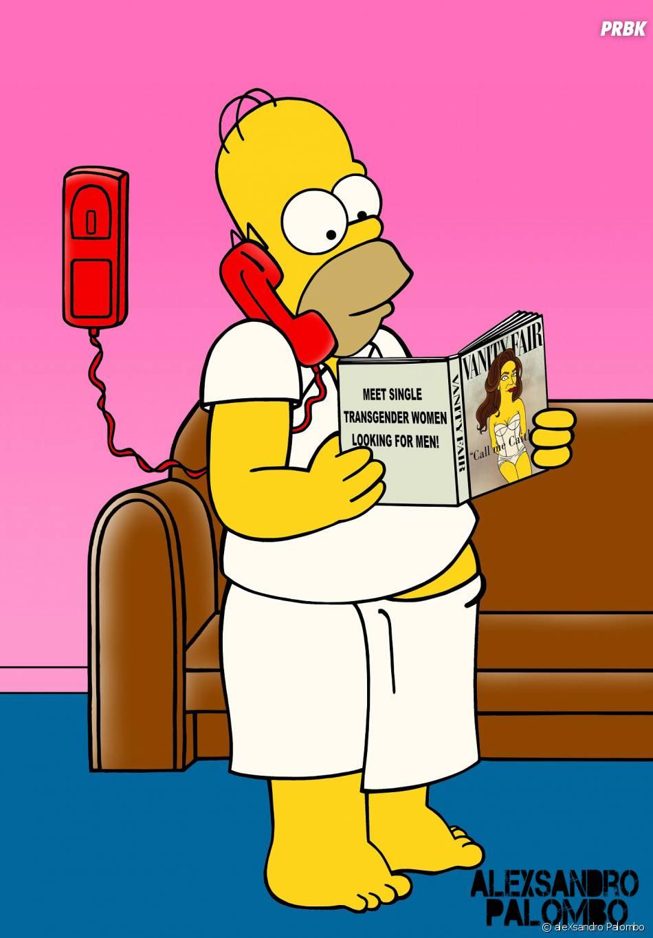 Homer lit le Vanity Fair avec Caitlyn Jenner en couverture dans une nouvelle série de détournements de l'artiste aleXsandro Palombo