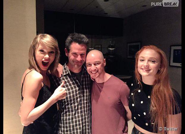 Taylor Swift avec James McAvoy et Sophie Turner du film X-Men : Apocalypse, le 8 juillet 2015