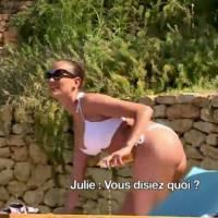 Thibault et Sofiane (Les vacances des anges) en mode voyeurs : séance matage de Julie en bikini