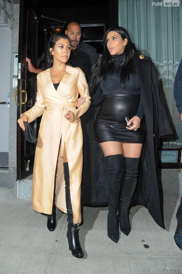 Kim Kardashian et Kourtney Kardashian sexy à New York, le 13 septembre 2015