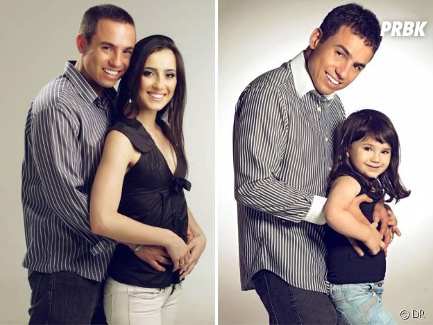 Rafael Del Col et sa fille Raisa imitant les vieilles photos de lui et Tatiane Valques.
