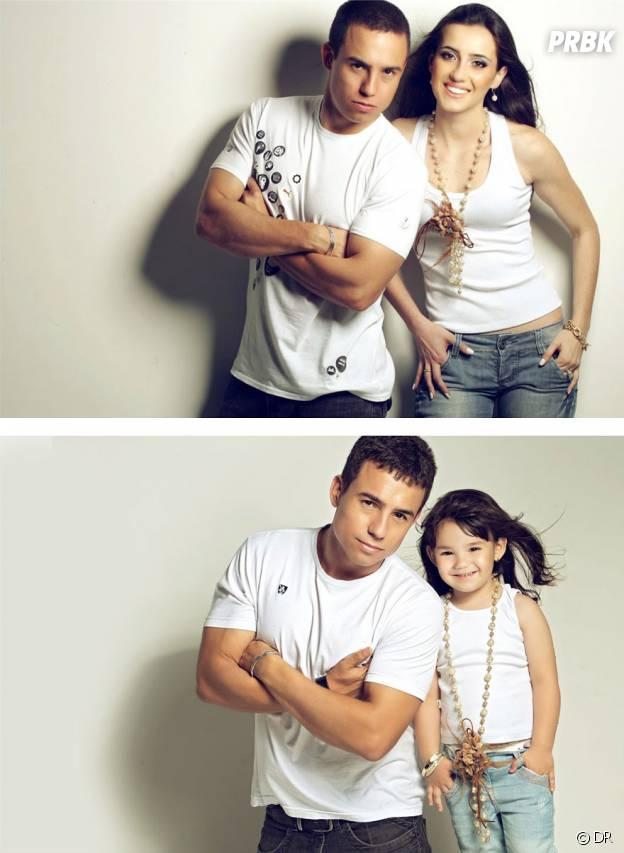 Rafael Del Col et sa fille Raisa imitant les photos de lui et Tatiane Valques.