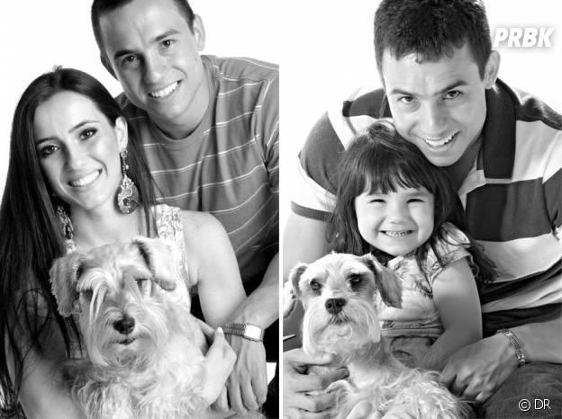 Rafael Del Col et sa fille Raisa imitant les anciennes photos de lui et Tatiane Valques.