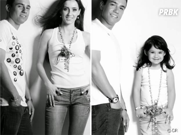 Le brésilien Rafael Del Col et sa fille Raisa imitant les vieilles photos de lui et Tatiane Valques.