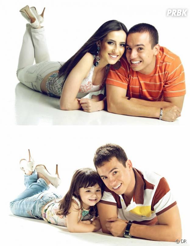 Le veuf Rafael Del Col et sa fille Raisa imitant les vieilles photos de lui et Tatiane Valques.