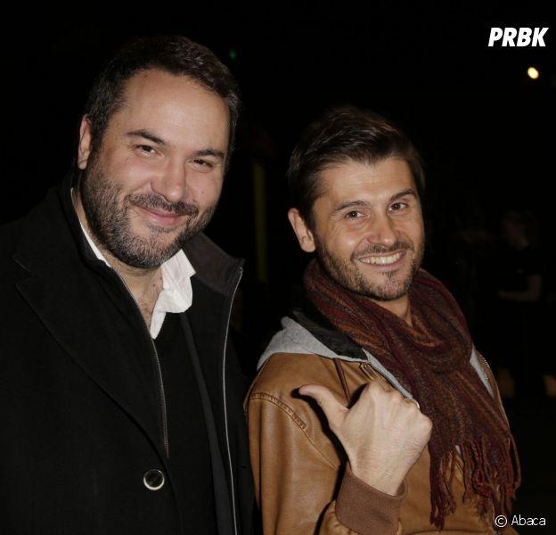 Christophe Beaugrand avec Bruce Toussaint qu'il a rencontré à Canal+, le 2 avril 2015