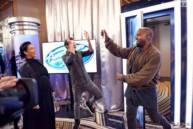 Kanye West, Kim Kardashian et Ryan Seacrest aux castings d'American Idol, le 10 octobre 2015 à San Francisco