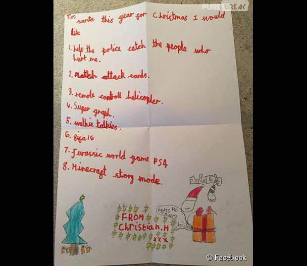 Un petit garçon de 7 ans écrit au Père Noël et lui fait une ...