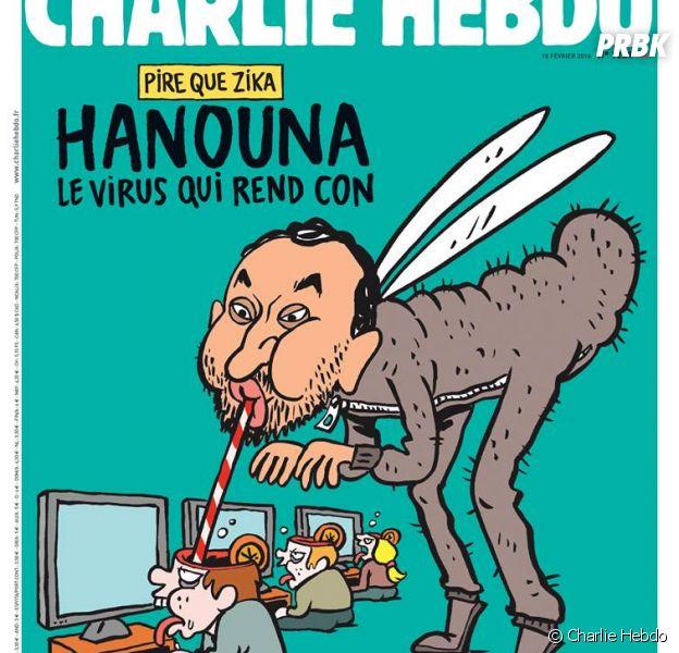 Cyril Hanouna caricaturé en Une de Charlie Hebdo, le 10 février 2016
