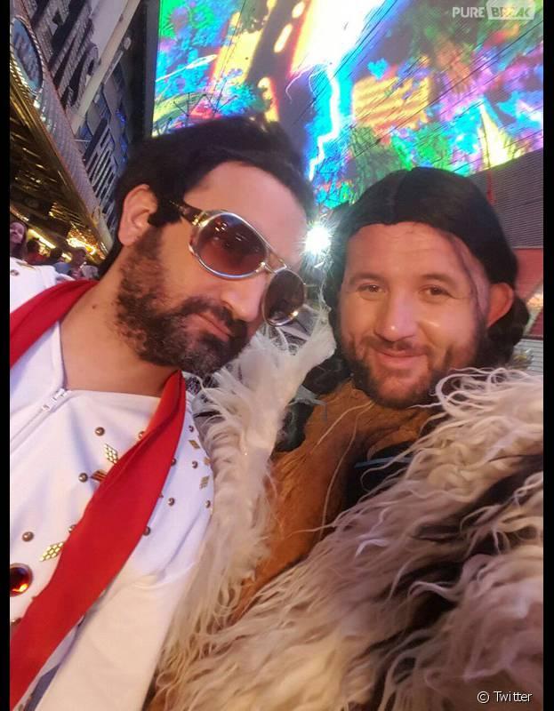 Cyril Hanouna en Elvis avec Mokhtar lors du séjour de l'équipe de TPMP à Las Vegas