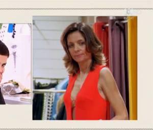 Les Reines du Shopping : la combinaison d'Aline critiquée par Cristina Cordula et les candidates le 13 mai 2016 sur M6