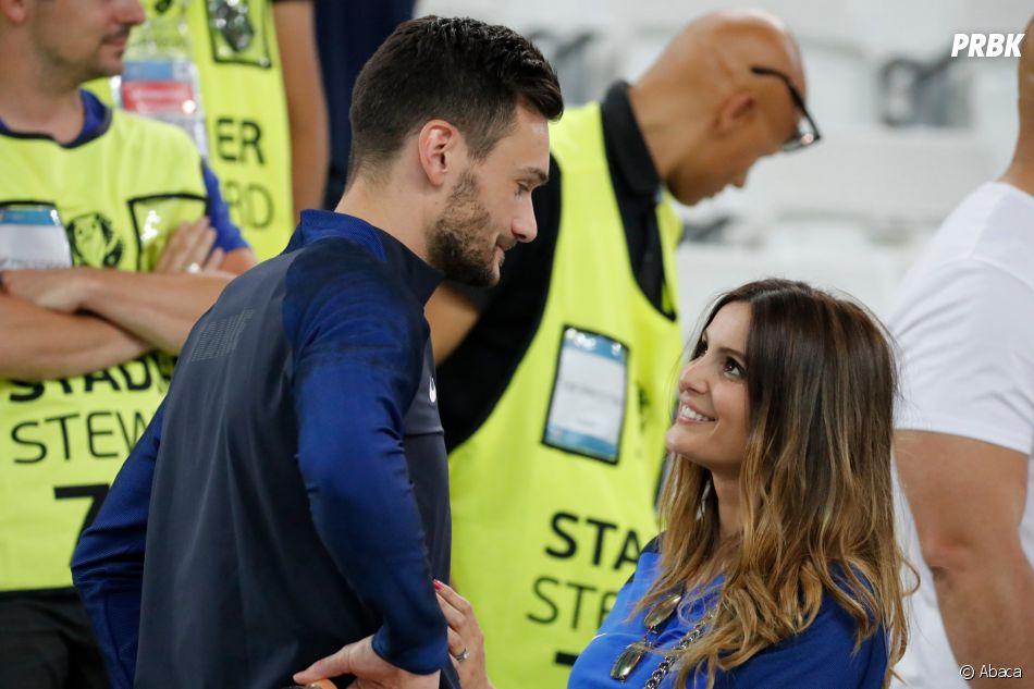 Hugo Lloris et sa femme Marine après le match France-Allemagne le 7 juillet 2016