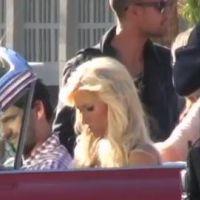 Paris Hilton sur le tournage de sa nouvelle pub