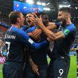 Les Bleus laissent éclater leur joie lors de la demi-finale France/Belgique le 10 juillet 2018