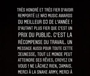 DJ Snake remercie ses fans après sa victoire aux NMA 2018