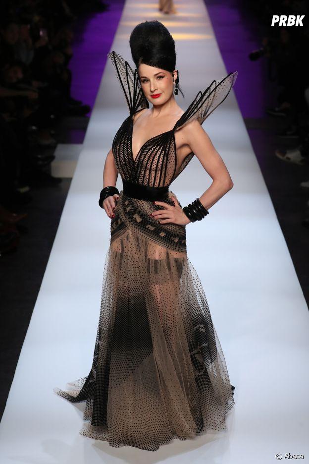 Dita Von Teese au défilé Jean-Paul Gaultier Haute Couture printemps-été 2019.