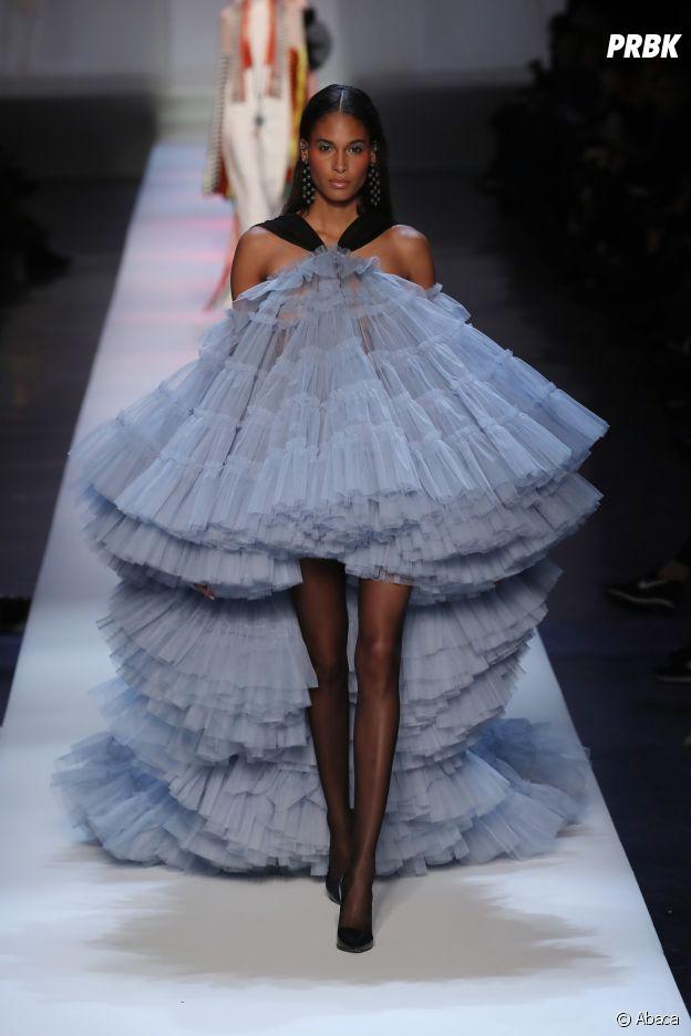 Cindy Bruna au défilé Jean-Paul Gaultier Haute Couture printemps-été 2019.