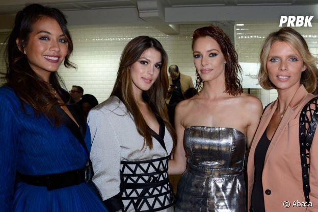 Vaimalama Chaves, Iris Mittenaere, Maëva Coucke et Sylvie Tellier au défilé Jean-Paul Gaultier Haute Couture printemps-été 2019.
