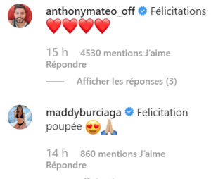 Carla Moreau et Kevin Guedj parents : les messages de félicitations de Anthony Mateo, Maddy Burciaga et Jazz