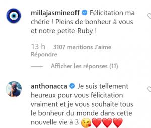 Carla Moreau et Kevin Guedj parents : les messages de félicitations de Milla Jasmine et Anthony Nacca