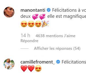 Carla Moreau et Kevin Guedj parents : les messages de félicitations de Manon Marsault et Camile Froment