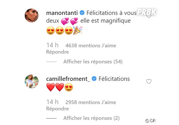 Carla Moreau et Kevin Guedj parents : les messages de félicitations de Manon Marsault et Camile Froment