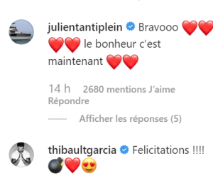 Carla Moreau et Kevin Guedj parents : les messages de félicitations de Julien Tantit et Thibault Garcia