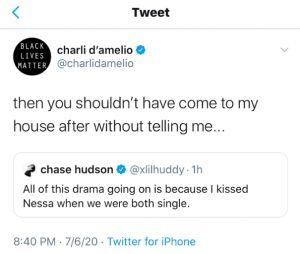 Chase Hudson VS Charli d'Amelio sur Twitter