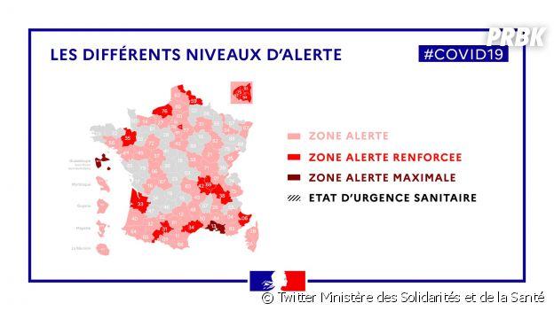 Coronavirus : la carte de France selon les niveaux d'alerte