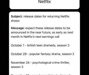 Le compte Instagram deuxmoi a-t-il dévoilé les dates de sorties de plusieurs séries Netflix ?