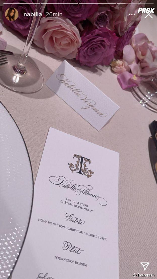 Nabilla Benattia dévoile un aperçu du menu de son mariage avec Thomas Vergara à Chantilly le 6 juillet 2021