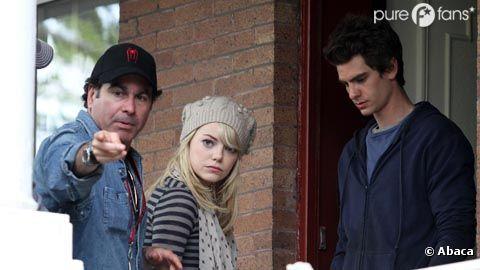 Andrew Garfield et Emma Stone sur le tournage de Spider Man à Brooklyn.
