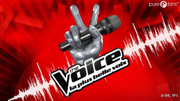 The voice la plus belle voix : le logo sur fond rouge