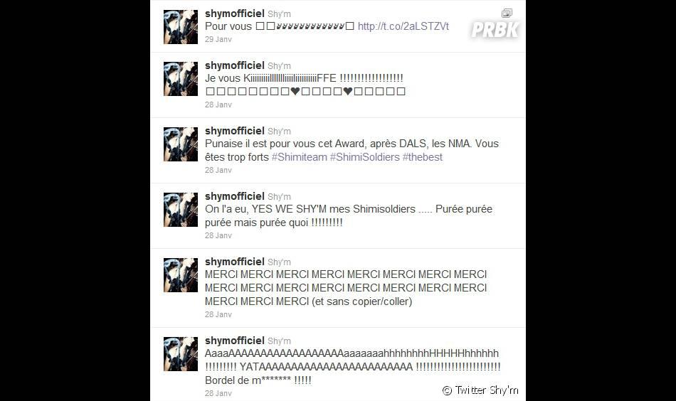 Shy'm laisse échapper sa joie après sa victoire aux NRJ Music Awards 2012