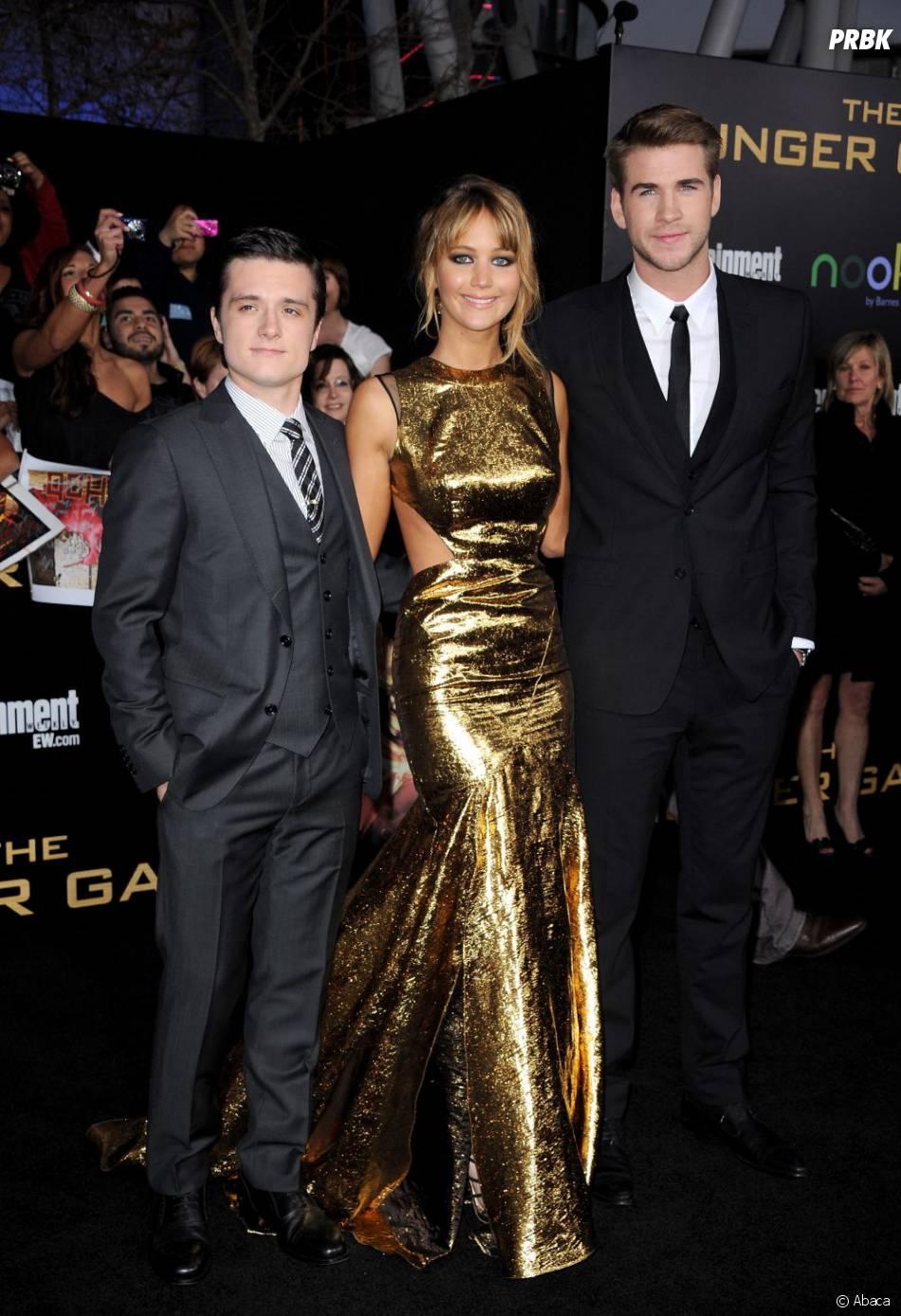 Josh Hutcherson, Jennifer Lawrence et Liam Hemsworth lors de l'avant première d'Hunger Games à Los Angeles