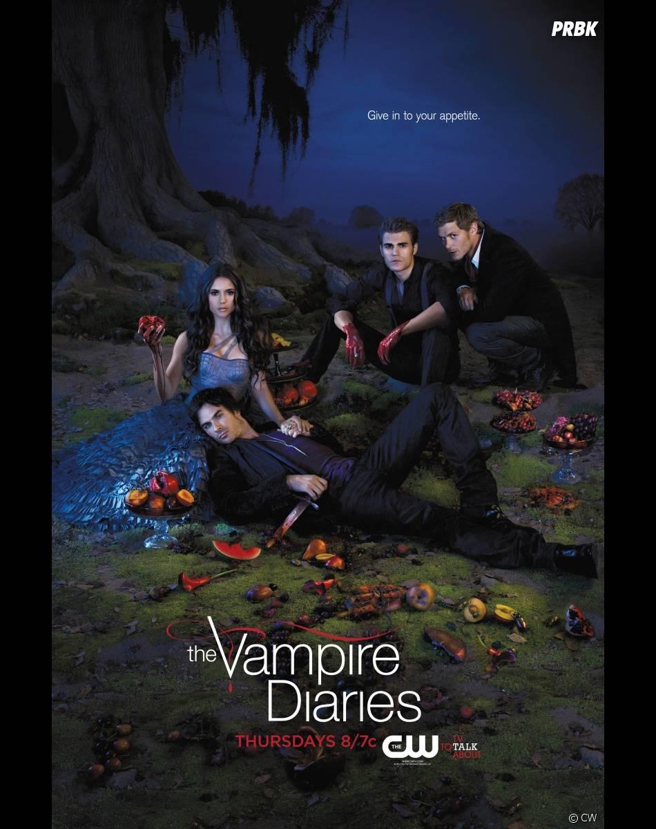 Damon, Elena, Stefan et Klaus sur un poster de Vampire Diaries