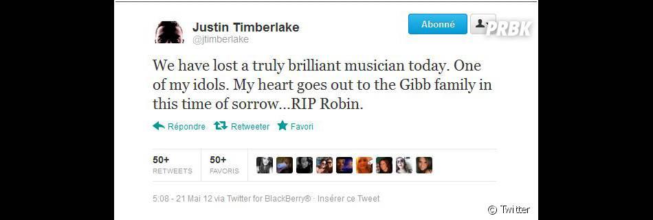 Justin Timberlake est très ému par la mort de Robin Gibb