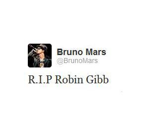 Bruno Mars a réagi à la mort de Robin Gibb sur Twitter