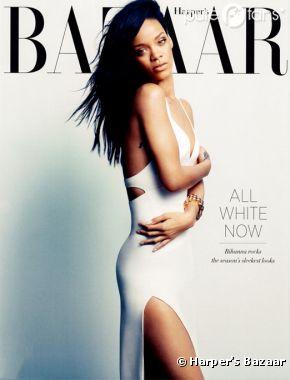 Rihanna sublime dans une robe blanche pour Harper's Bazaar