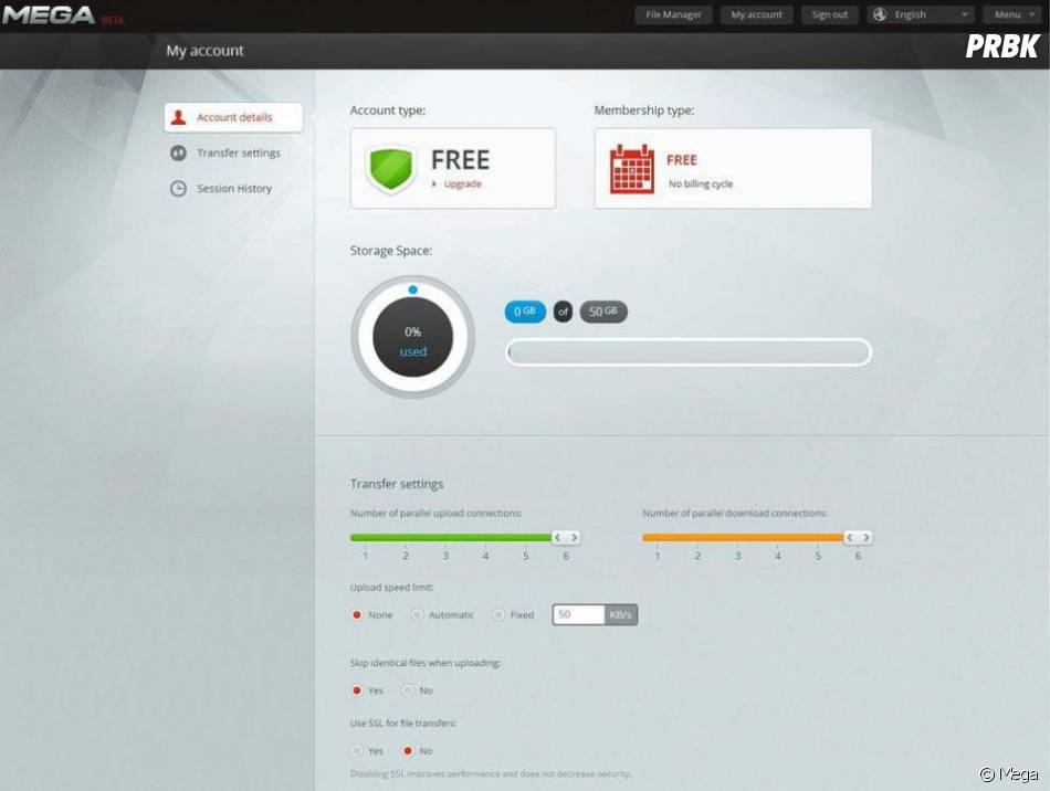 Selon cette capture d'écran du nouveau site Mega, postée par Kim Dotcom sur Twitter, des comptes gratuits bénéficiant d'un espace de stockage de 50 Go seront proposés aux utilisateurs.